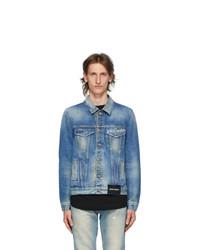 Palm Angels Blue Denim College Eagle Jacket