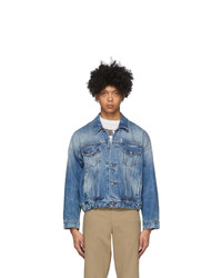 R13 Blue Denim Oversized Cinch Waist Trucker Jacket