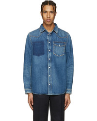 Valentino Blue Denim Rockstud Jacket