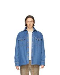 Nanushka Blue Denim Sherpa 90s Wash Jacket