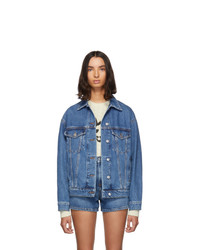 MSGM Blue Denim Stamped Jacket