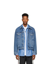 Vetements Blue Gothic Logo Denim Jacket