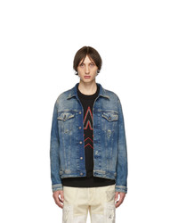 Diesel Blue Joggjean Distressed Nhill Tw Denim Jacket