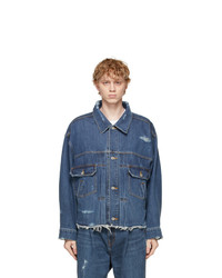 Doublet Blue Silk Denim Damaged Jacket