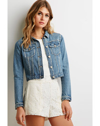 Forever 21 Contemporary Classic Distressed Denim Jacket