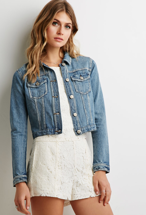 5b4590a66fc Forever 21 Contemporary Classic Distressed Denim Jacket, $29 ...