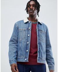 Calvin Klein Jeans Denim Borg Lined Jacket With Jeans Pocket Detail