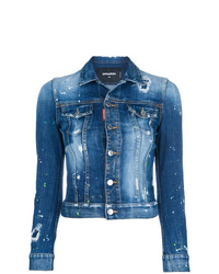 Dsquared2 Distressed Cropped Denim Jacket