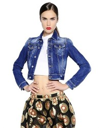 Dsquared2 Nonna Patch Wash Denim Cropped Jacket