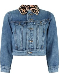 Leopard collar cropped denim jacket medium 520835