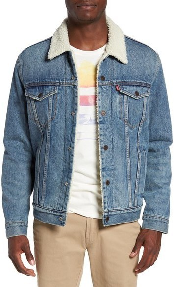 Levis Sherpa Fleece Lined Denim Trucker Jacket