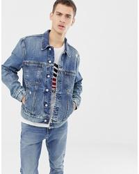 Calvin Klein Jeans Modern Omega Trucker Jacket Light Wash Blue