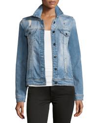 Nanette Nanette Lepore Glam Distressed Studded Denim Jacket Spring Blue Wash