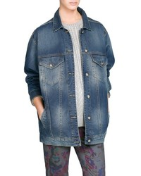 Mango Outlet Dark Wash Oversize Denim Jacket