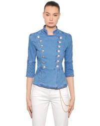 PIERRE BALMAIN Double Breasted Cotton Denim Jacket