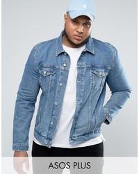 Asos Plus Denim Jacket In Light Blue Wash
