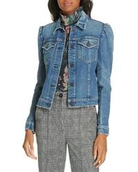 La Vie Rebecca Taylor Puff Shoulder Leather Jacket