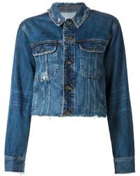 Rag and Bone Rag Bone Jean Cropped Distressed Denim Jacket