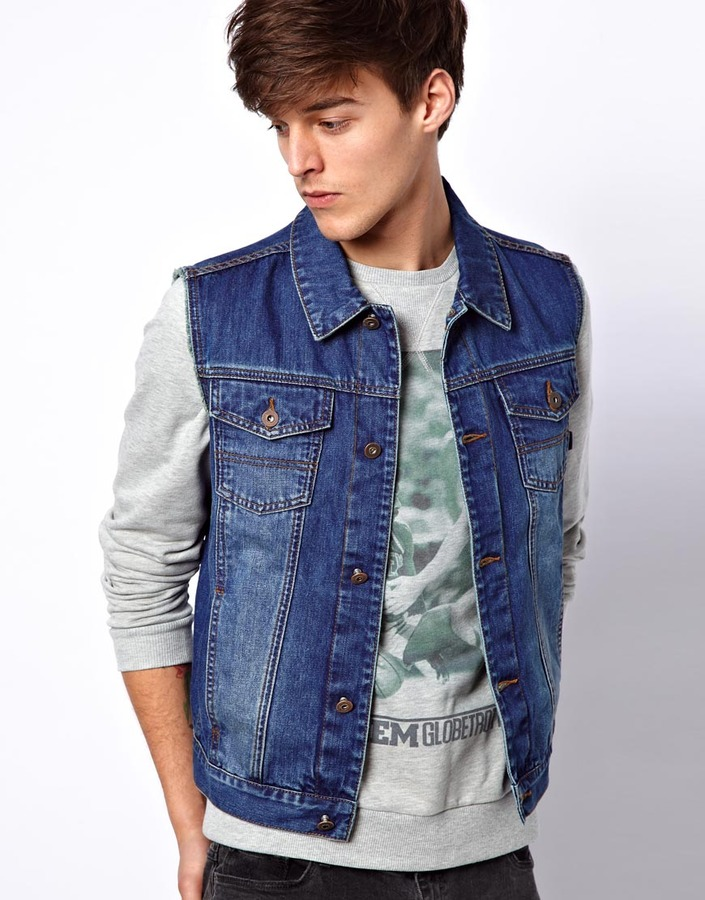 complete range of articles good looking 100% authenticated $66, Asos Sleeveless Denim Jacket
