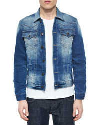 True Religion Slim Trucker Active Denim Jacket Blue