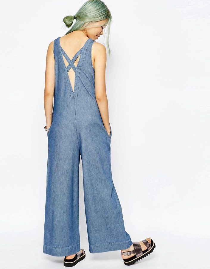 9e0cadf1b6e0 Asos ASOS Denim Premium Jumpsuit With Low Back