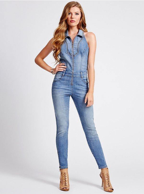 GUESS Halter Denim Jumpsuit In Picture Show Wash | Where to buy ...