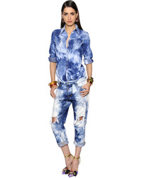 Dsquared2 Bleached Cotton Denim Jumpsuit