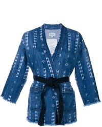 Current/Elliott Printed Denim Kimono Jacket