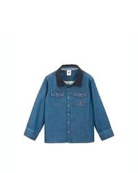 Petit Bateau Boys Micro Denim And Jersey Shirt