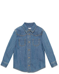 Gucci Childrens Denim Shirt With Web