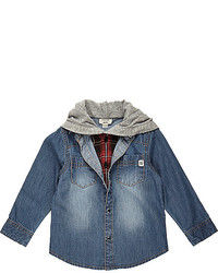 River Island Mini Boys Denim Layered Hood Shirt