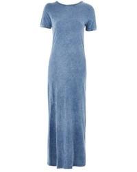 Topshop Washed Denim Split Front Maxi Dress