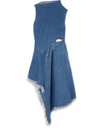 MARQUES ALMEIDA 7 For All Mankind Asymmetric Frayed Denim Midi Dress