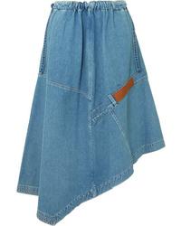 Loewe Asymmetric Med Denim Midi Skirt