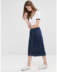 Only Button Through Midi A Line Denim Skirt