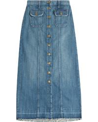 Current/Elliott Denim Midi Skirt