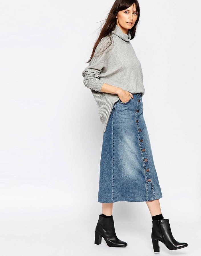 Just Female Pine Denim Midi Skirt | Where to buy & how to wear