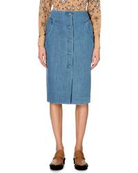 Topshop Whitcomb Denim Midi Skirt