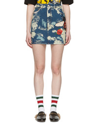 Gucci Blue Denim Patches Miniskirt