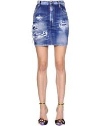 Dsquared2 Destroyed Cotton Denim Mini Skirt