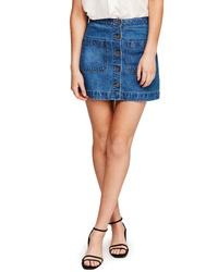 Free People Dont Get Me Wrong Denim Miniskirt