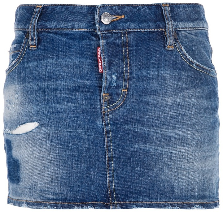 dsquared 2 distressed denim skirt where to buy how to wear