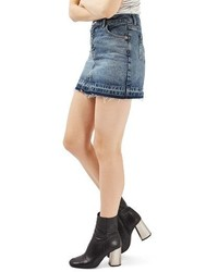 Moto let down hem denim miniskirt medium 1151157