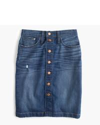 J.Crew Petite Button Front Denim Mini Skirt