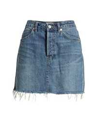 Free People Rugged A Line Denim Miniskirt