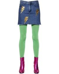 Thunderbolt sequined washed denim skirt medium 3048729