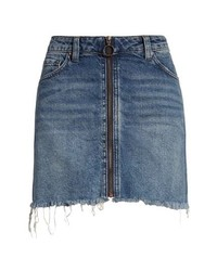 Free People We The Free By Zip It Up Denim Miniskirt
