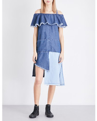 SteveJ & YoniP Steve J Yoni P Cold Shoulder Patchwork Denim Dress