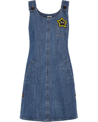 Miu Miu Appliqud Denim Mini Dress Mid Denim
