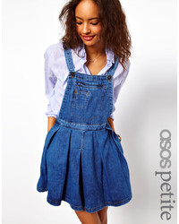 Asos Petite Denim Pinafore Dress With Pleated Skirt In Vintage Wash